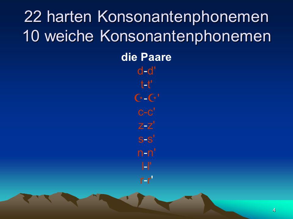 4 22 harten Konsonantenphonemen 10 weiche Konsonantenphonemen die Paare d-d t-t - c-c z-z s-s n-n l-l r-r