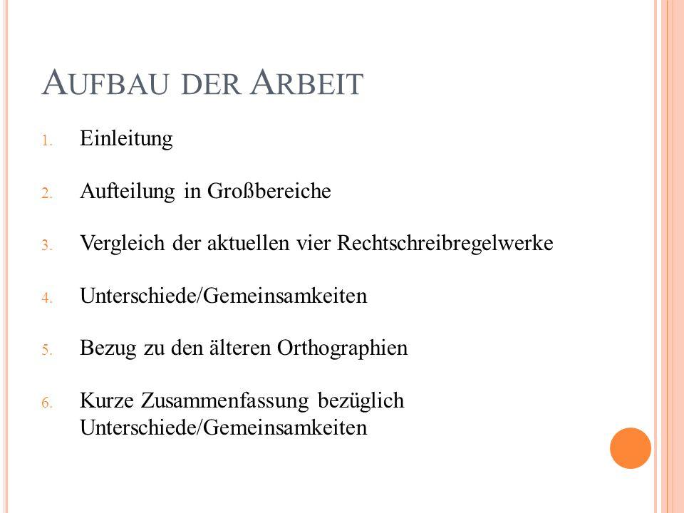 A UFBAU DER A RBEIT 1. Einleitung 2. Aufteilung in Großbereiche 3.