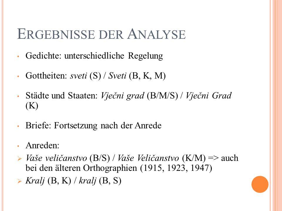 E RGEBNISSE DER A NALYSE Gedichte: unterschiedliche Regelung Gottheiten: sveti (S) / Sveti (B, K, M) Städte und Staaten: Vječni grad (B/M/S) / Vječni Grad (K) Briefe: Fortsetzung nach der Anrede Anreden: Vaše veličanstvo (B/S) / Vaše Veličanstvo (K/M) => auch bei den älteren Orthographien (1915, 1923, 1947) Kralj (B, K) / kralj (B, S)