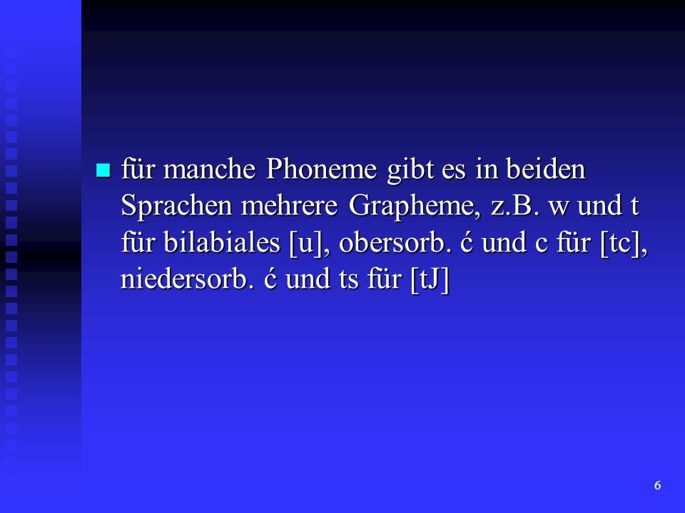 6 für manche Phoneme gibt es in beiden Sprachen mehrere Grapheme, z.B. w und t für bilabiales [u], obersorb. ć und c für [tc], niedersorb. ć und ts fü