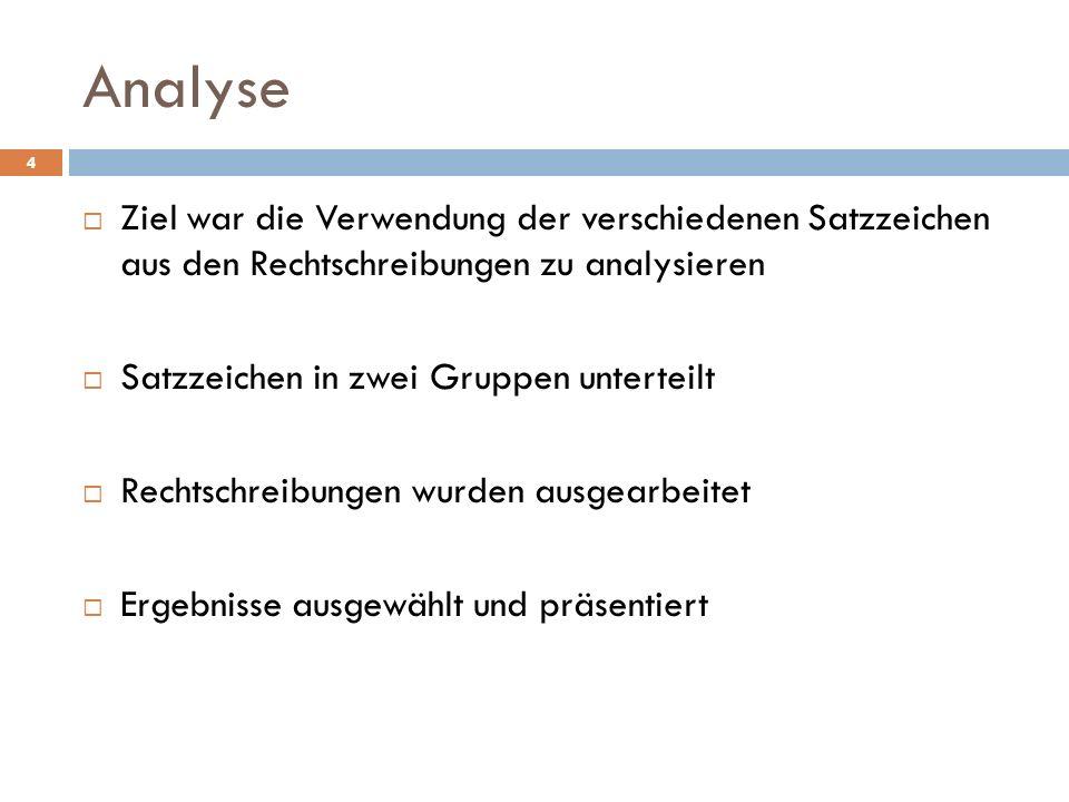Analyse 4 Ziel war die Verwendung der verschiedenen Satzzeichen aus den Rechtschreibungen zu analysieren Satzzeichen in zwei Gruppen unterteilt Rechts