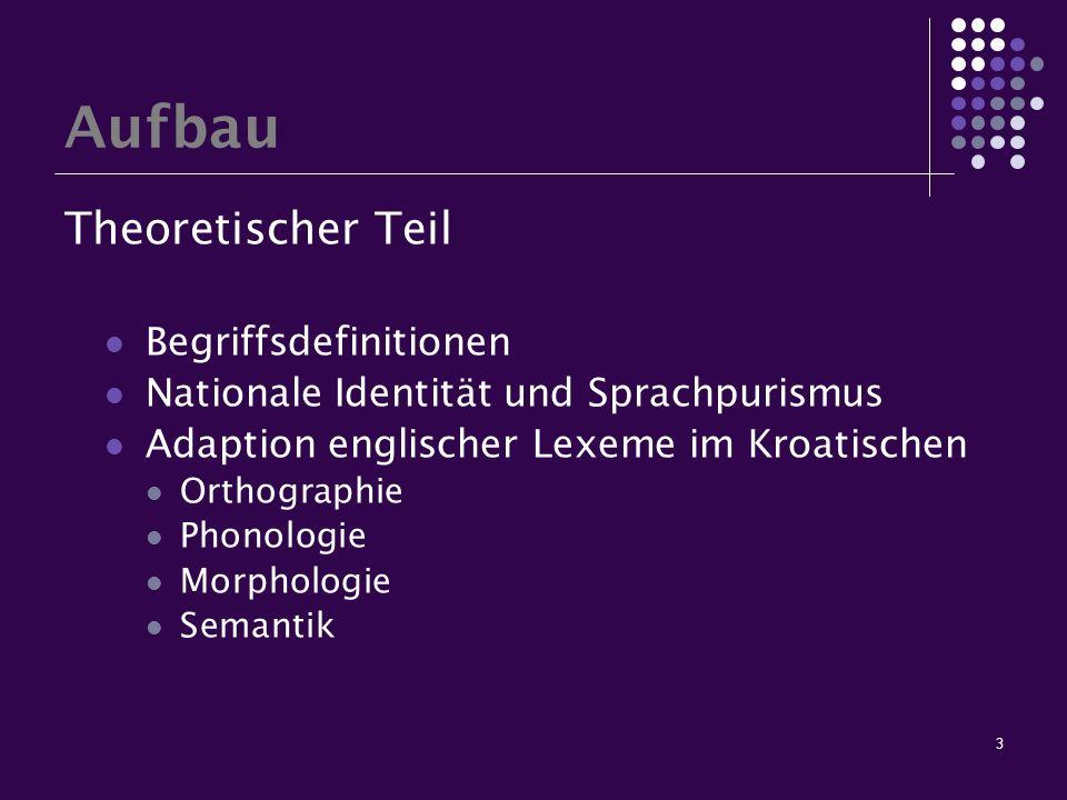 3 Aufbau Theoretischer Teil Begriffsdefinitionen Nationale Identität und Sprachpurismus Adaption englischer Lexeme im Kroatischen Orthographie Phonolo