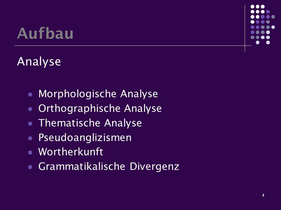 4 Aufbau Analyse Morphologische Analyse Orthographische Analyse Thematische Analyse Pseudoanglizismen Wortherkunft Grammatikalische Divergenz