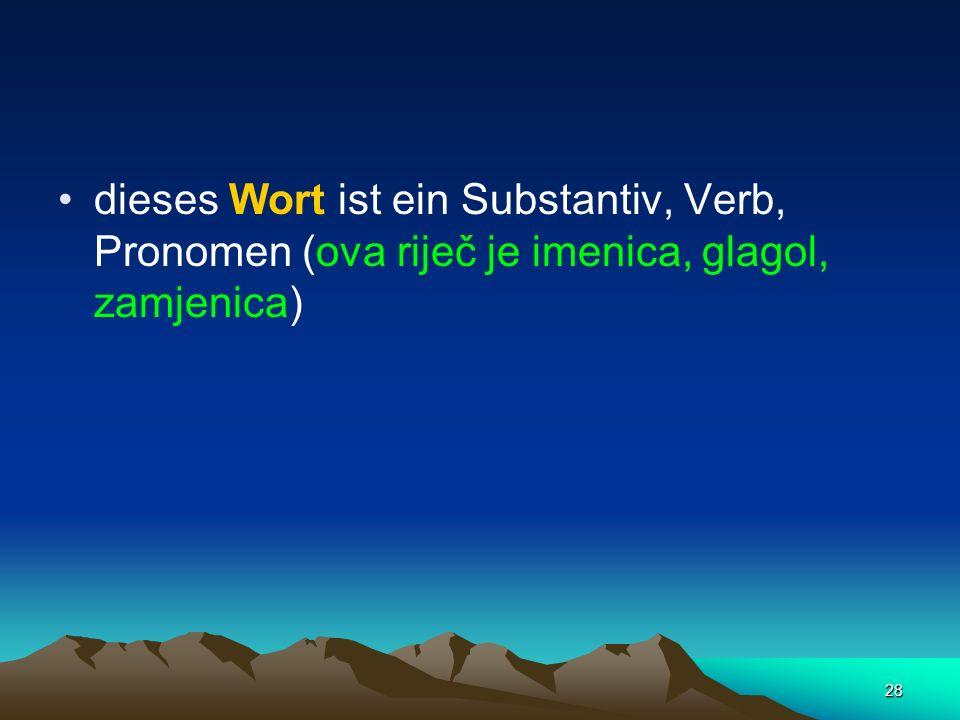 28 dieses Wort ist ein Substantiv, Verb, Pronomen (ova riječ je imenica, glagol, zamjenica)