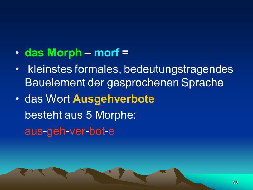 58 das Morph – morf = kleinstes formales, bedeutungstragendes Bauelement der gesprochenen Sprache das Wort Ausgehverbote besteht aus 5 Morphe: aus-geh