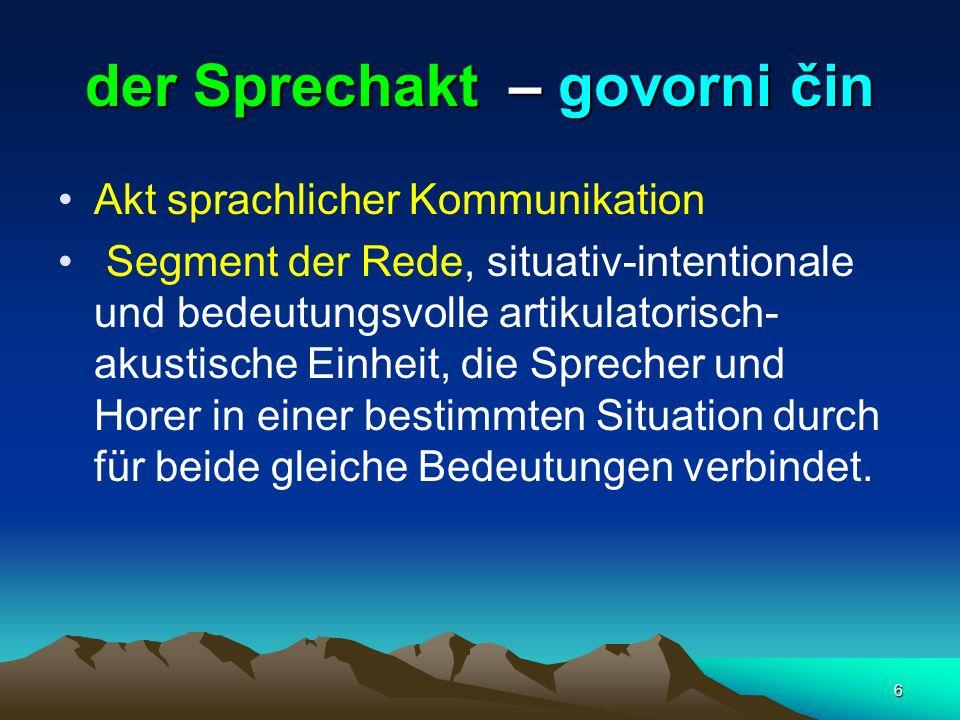 6 der Sprechakt – govorni čin Akt sprachlicher Kommunikation Segment der Rede, situativ-intentionale und bedeutungsvolle artikulatorisch- akustische E