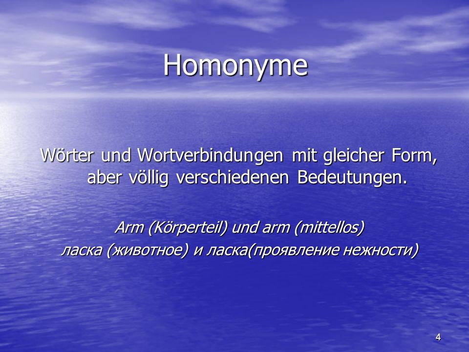 4 Homonyme Wörter und Wortverbindungen mit gleicher Form, aber völlig verschiedenen Bedeutungen. Arm (Körperteil) und arm (mittellos) ласка (животное)
