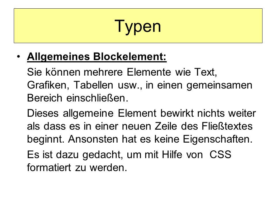 Beispiel <!DOCTYPE HTML PUBLIC -//W3C//DTD HTML 4.01 Transitional//EN http://www.w3.org/TR/html4/loose.dtd > Allgemeines Block-Element Alles zentriert alles zentriert alles.