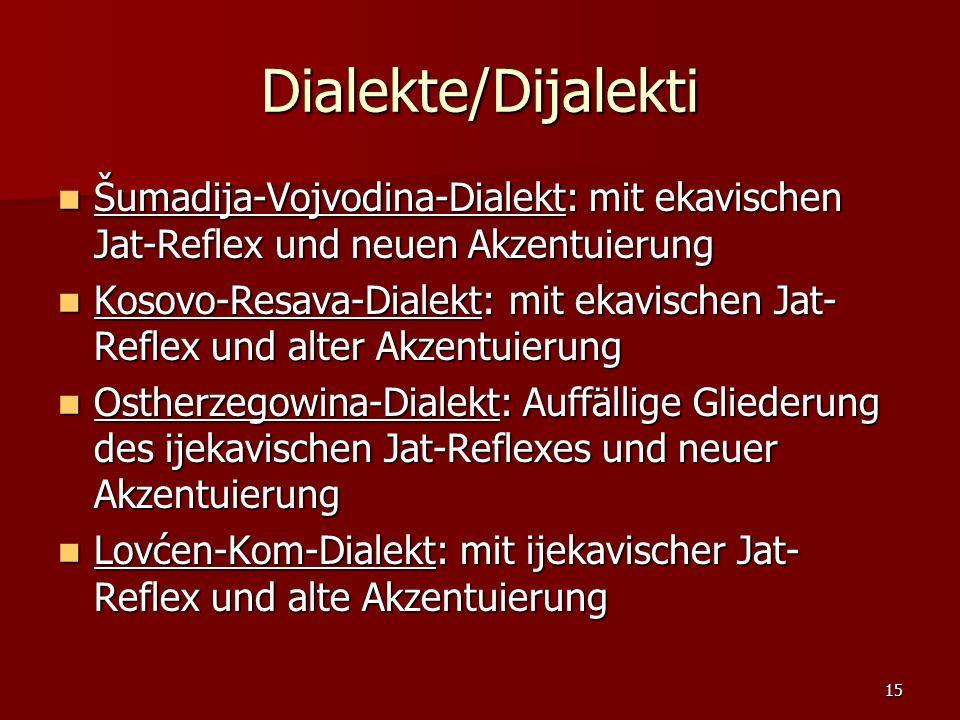 15 Dialekte/Dijalekti Šumadija-Vojvodina-Dialekt: mit ekavischen Jat-Reflex und neuen Akzentuierung Šumadija-Vojvodina-Dialekt: mit ekavischen Jat-Ref