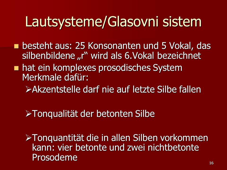 16 Lautsysteme/Glasovni sistem besteht aus: 25 Konsonanten und 5 Vokal, das silbenbildene r wird als 6.Vokal bezeichnet besteht aus: 25 Konsonanten un