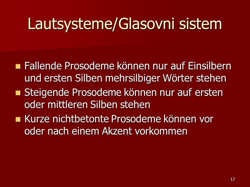 17 Lautsysteme/Glasovni sistem Fallende Prosodeme können nur auf Einsilbern und ersten Silben mehrsilbiger Wörter stehen Fallende Prosodeme können nur