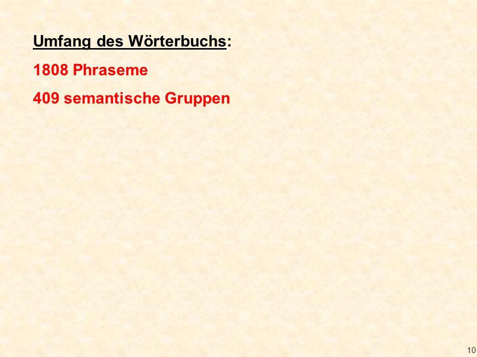 10 Umfang des Wörterbuchs: 1808 Phraseme 409 semantische Gruppen