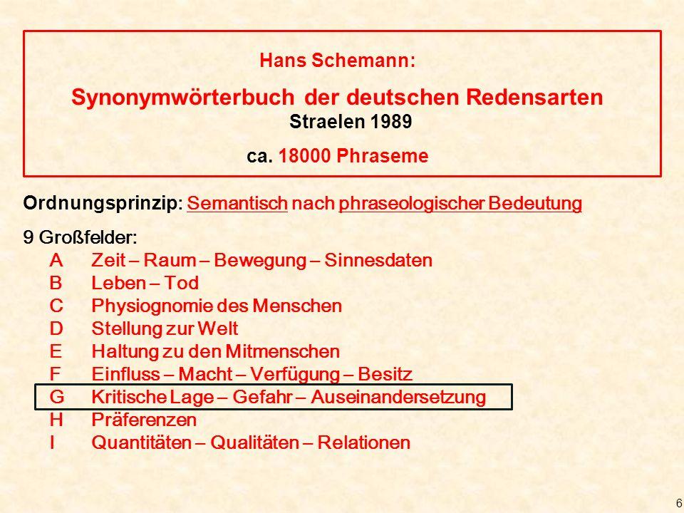 6 Hans Schemann: Synonymwörterbuch der deutschen Redensarten Straelen 1989 ca.