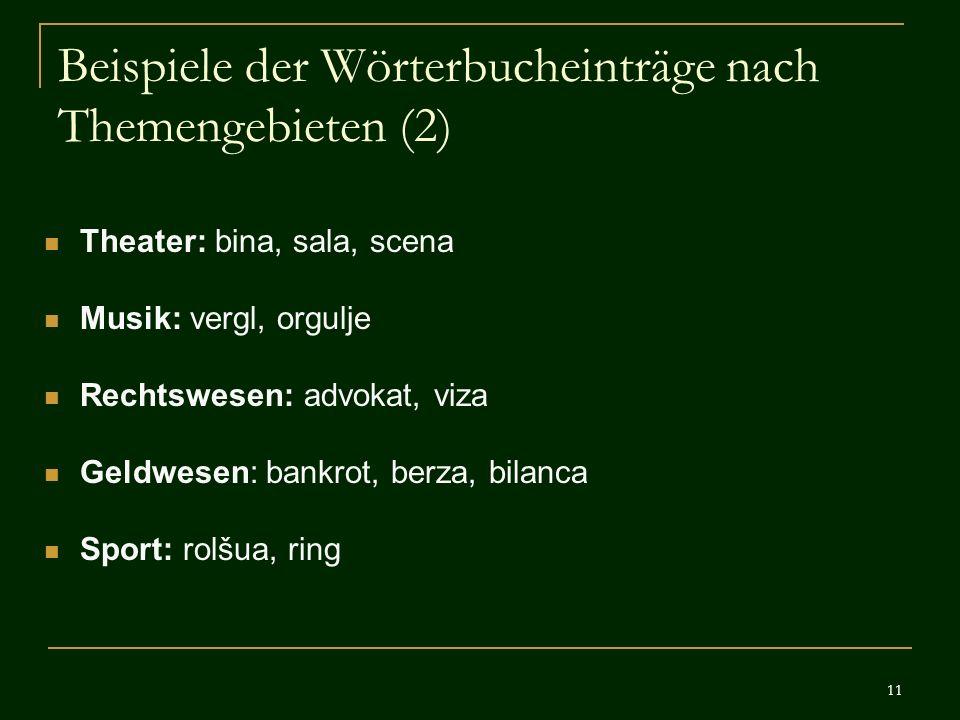 11 Beispiele der Wörterbucheinträge nach Themengebieten (2) Theater: bina, sala, scena Musik: vergl, orgulje Rechtswesen: advokat, viza Geldwesen: ban