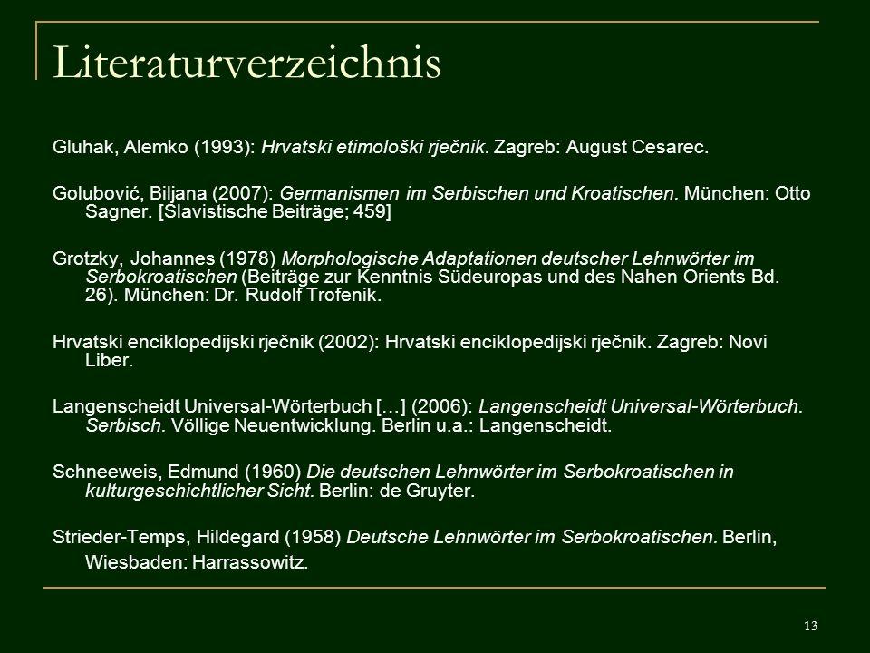 13 Literaturverzeichnis Gluhak, Alemko (1993): Hrvatski etimološki rječnik. Zagreb: August Cesarec. Golubović, Biljana (2007): Germanismen im Serbisch