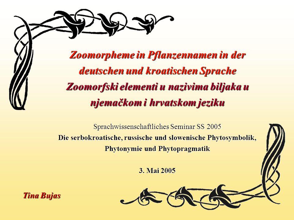 Zoomorpheme in Pflanzennamen in der deutschen und kroatischen Sprache Zoomorfski elementi u nazivima biljaka u njemačkom i hrvatskom jeziku Sprachwiss