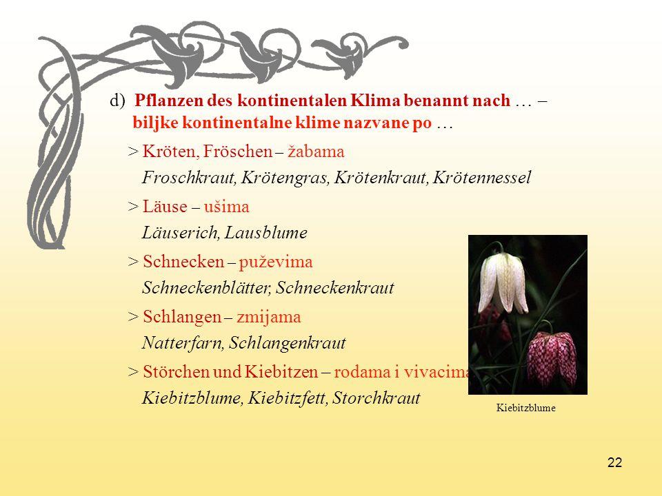 22 d) Pflanzen des kontinentalen Klima benannt nach … – biljke kontinentalne klime nazvane po … > Kröten, Fröschen – žabama Froschkraut, Krötengras, K