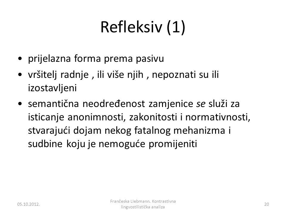 Refleksiv (1) prijelazna forma prema pasivu vršitelj radnje, ili više njih, nepoznati su ili izostavljeni semantična neodre đ enost zamjenice se služi