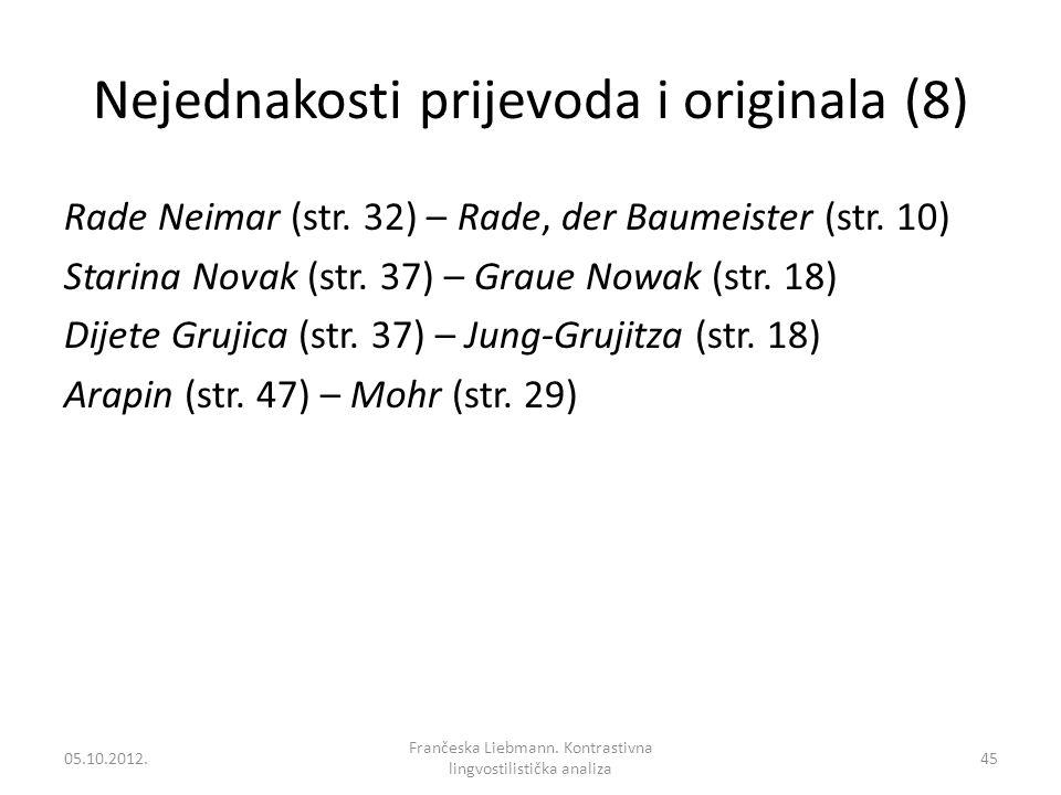 Nejednakosti prijevoda i originala (8) Rade Neimar (str. 32) – Rade, der Baumeister (str. 10) Starina Novak (str. 37) – Graue Nowak (str. 18) Dijete G