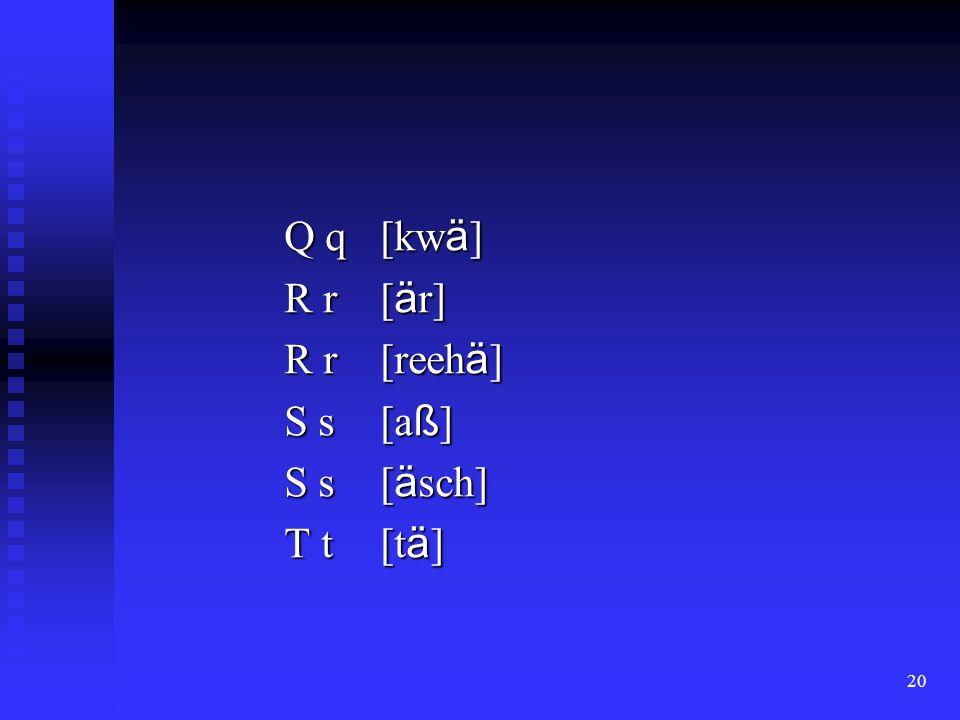 20 Q q [kw ä ] R r [ ä r] R r [reeh ä ] S s [a ß ] S s [ ä sch] T t [t ä ]