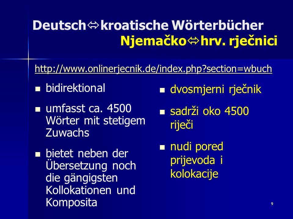 10 Deutsch kroatische Wörterbücher Njemačko hrv.