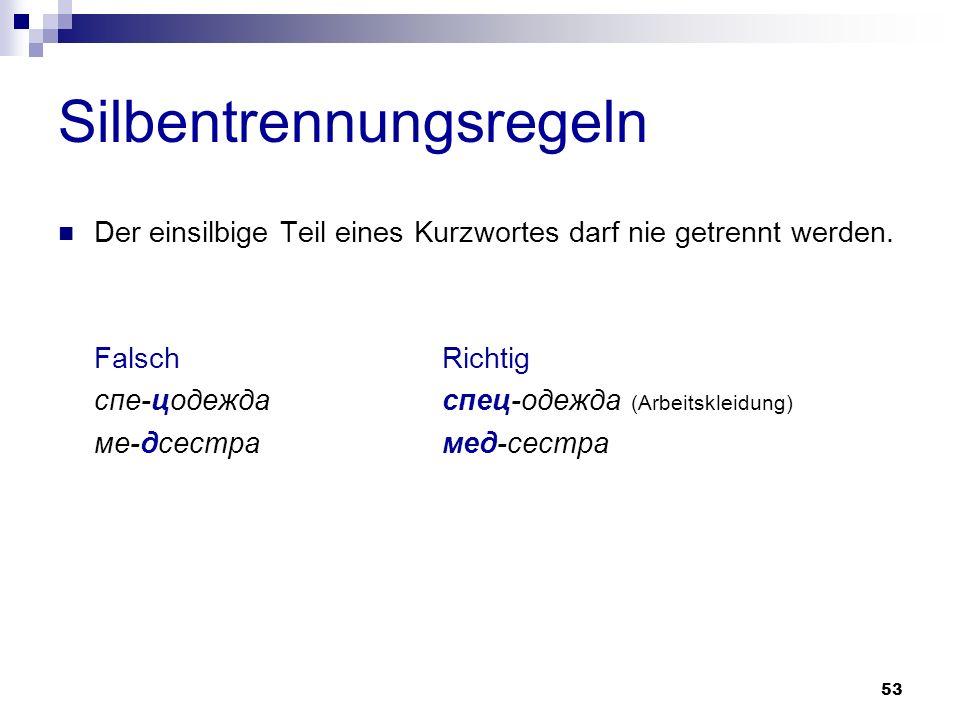 54 Silbentrennungsregeln nicht getrennt werden Buchstabenabkürzungen - die durchgehend mit Großbuchstaben geschrieben werden - die sowohl Groß- als auch Kleinbuchstaben enthalten - die aus Großbuchstaben und Zahlen bestehen