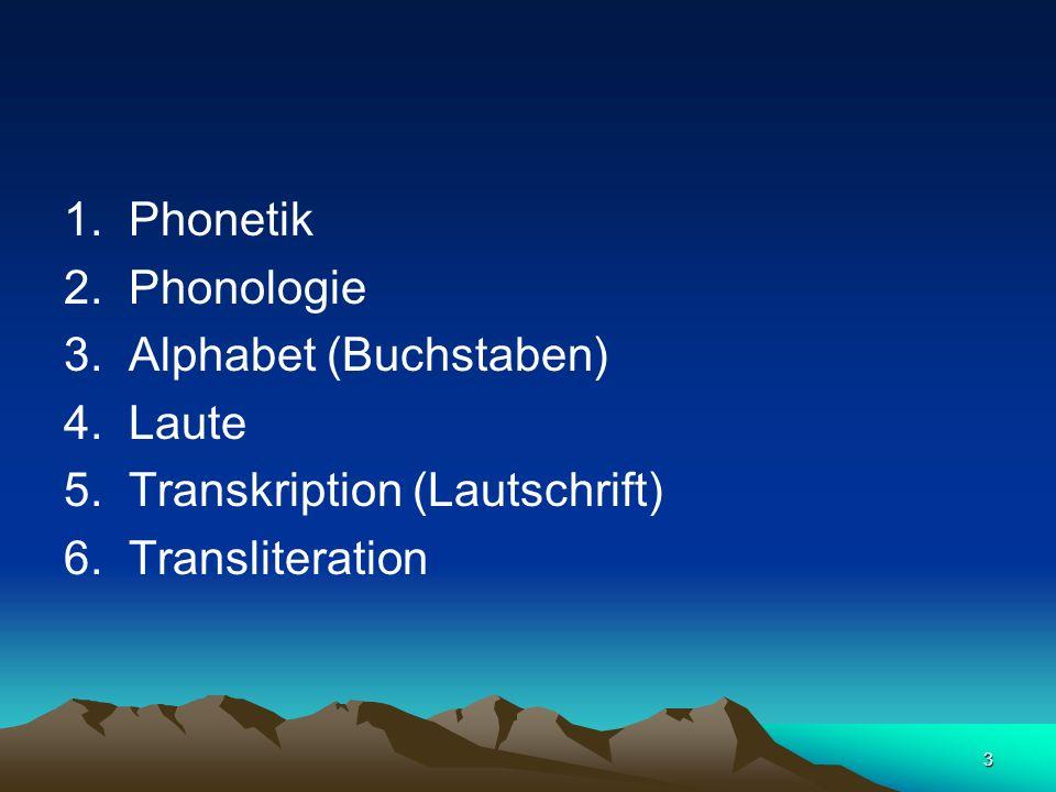 3 1. Phonetik 2. Phonologie 3. Alphabet (Buchstaben) 4. Laute 5. Transkription (Lautschrift) 6. Transliteration