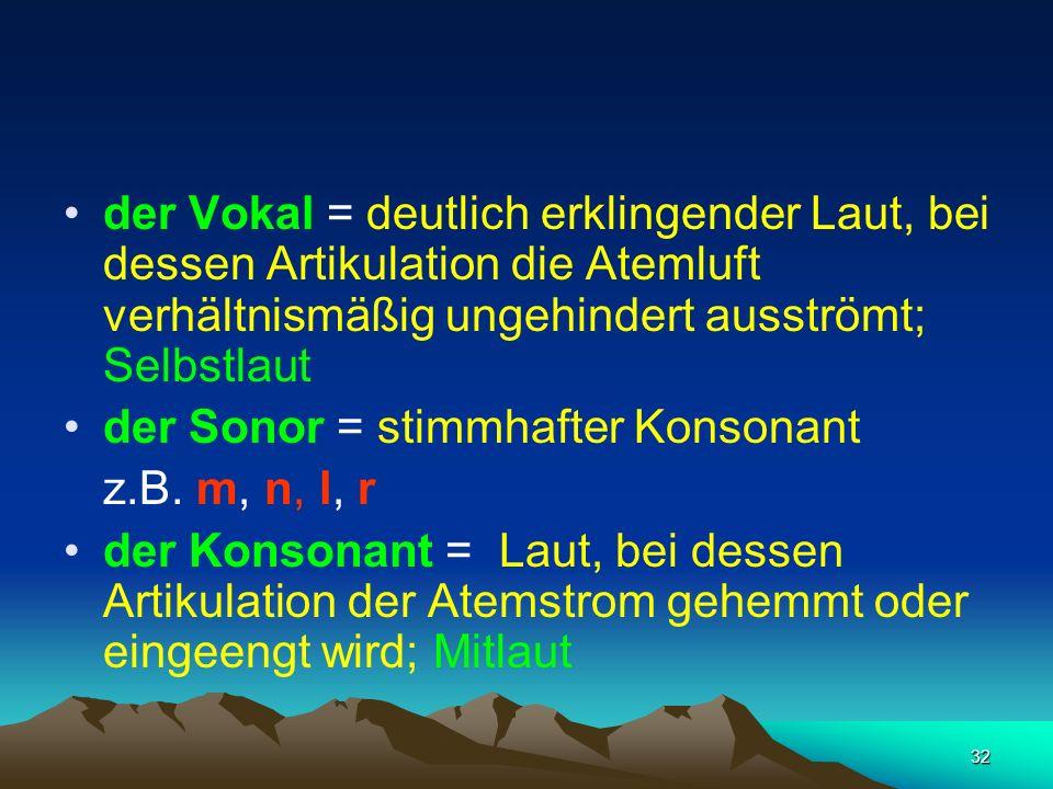 32 der Vokal = deutlich erklingender Laut, bei dessen Artikulation die Atemluft verhältnismäßig ungehindert ausströmt; Selbstlaut der Sonor = stimmhaf