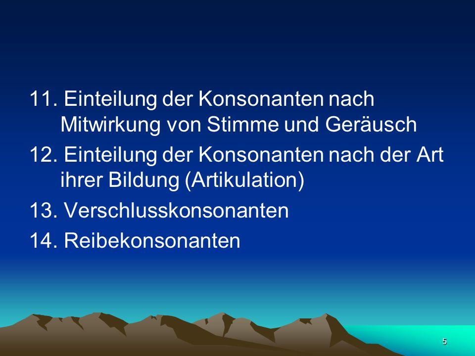 6 15.Stimmhafte und stimmlose Konsonanten 16. Harte und weiche Konsonanten 17.