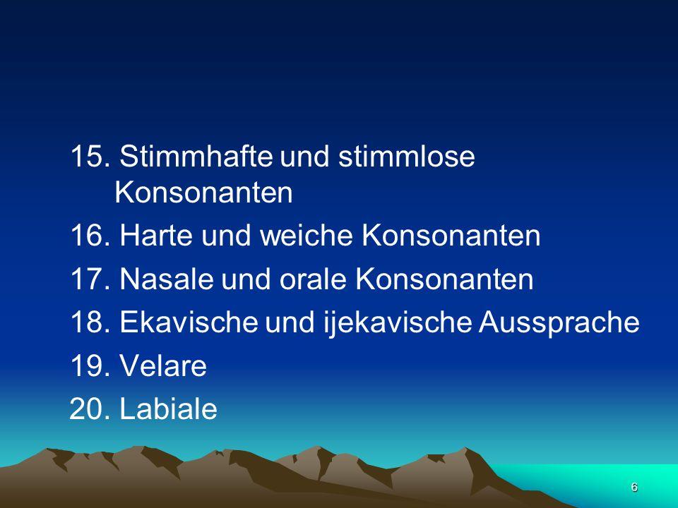 6 15. Stimmhafte und stimmlose Konsonanten 16. Harte und weiche Konsonanten 17. Nasale und orale Konsonanten 18. Ekavische und ijekavische Aussprache
