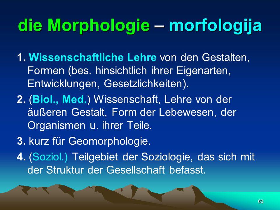 63 die Morphologie – morfologija 1. Wissenschaftliche Lehre von den Gestalten, Formen (bes. hinsichtlich ihrer Eigenarten, Entwicklungen, Gesetzlichke