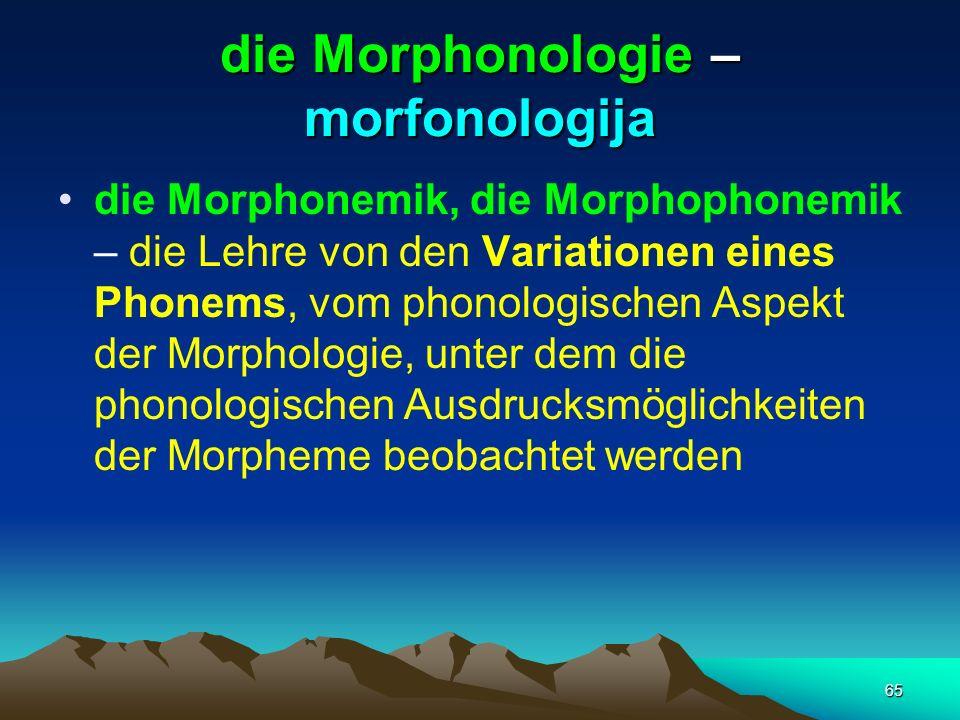 65 die Morphonologie – morfonologija die Morphonemik, die Morphophonemik – die Lehre von den Variationen eines Phonems, vom phonologischen Aspekt der