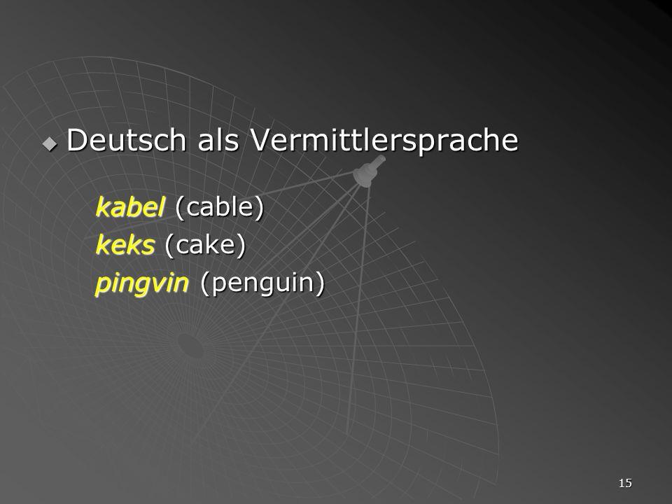 15 Deutsch als Vermittlersprache Deutsch als Vermittlersprache kabel (cable) keks (cake) pingvin (penguin)