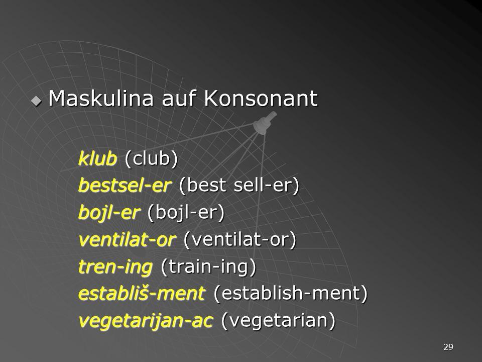 29 Maskulina auf Konsonant Maskulina auf Konsonant klub (club) bestsel-er (best sell-er) bojl-er (bojl-er) ventilat-or (ventilat-or) tren-ing (train-i