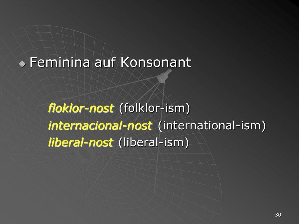 30 Feminina auf Konsonant Feminina auf Konsonant floklor-nost (folklor-ism) internacional-nost (international-ism) liberal-nost (liberal-ism)