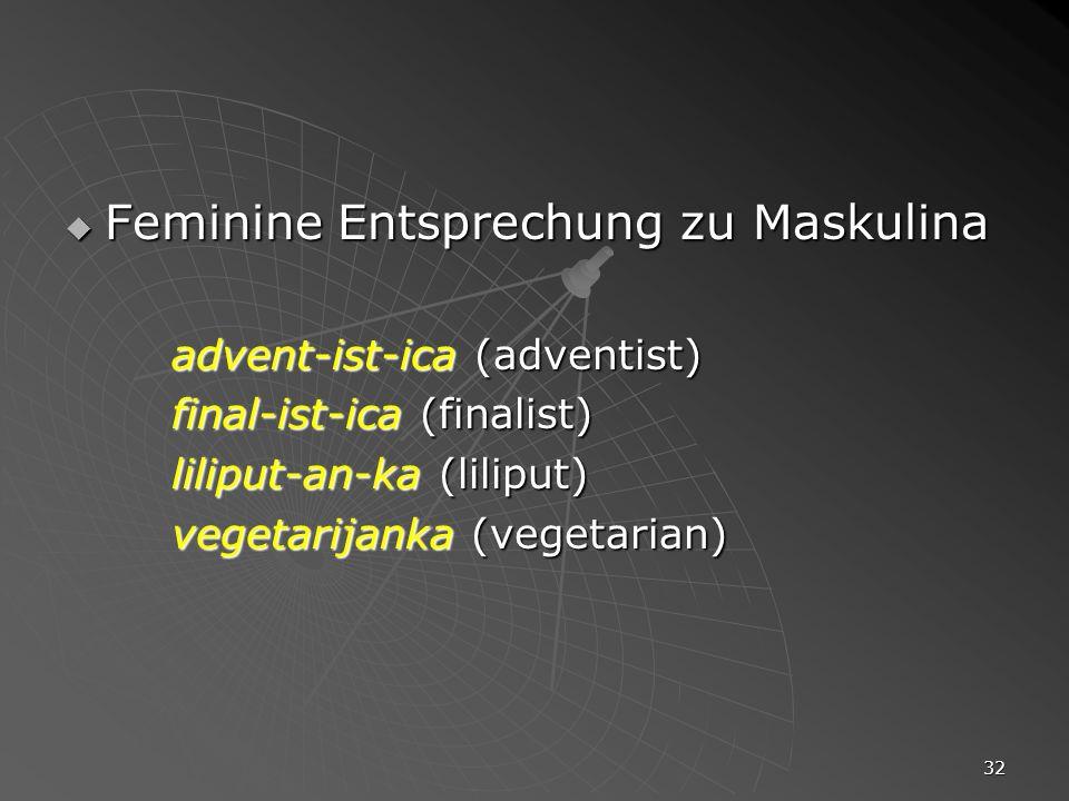32 Feminine Entsprechung zu Maskulina Feminine Entsprechung zu Maskulina advent-ist-ica (adventist) final-ist-ica (finalist) liliput-an-ka (liliput) v