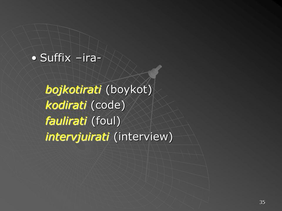 35 Suffix –ira-Suffix –ira- bojkotirati (boykot) kodirati (code) faulirati (foul) intervjuirati (interview)