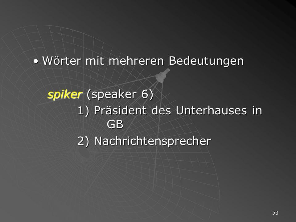 53 Wörter mit mehreren BedeutungenWörter mit mehreren Bedeutungen spiker (speaker 6) 1) Präsident des Unterhauses in GB 2) Nachrichtensprecher