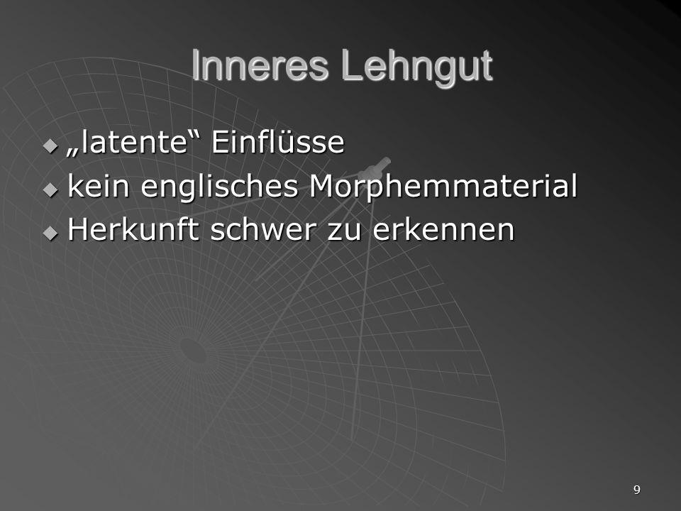 9 Inneres Lehngut latente Einflüsse latente Einflüsse kein englisches Morphemmaterial kein englisches Morphemmaterial Herkunft schwer zu erkennen Herk