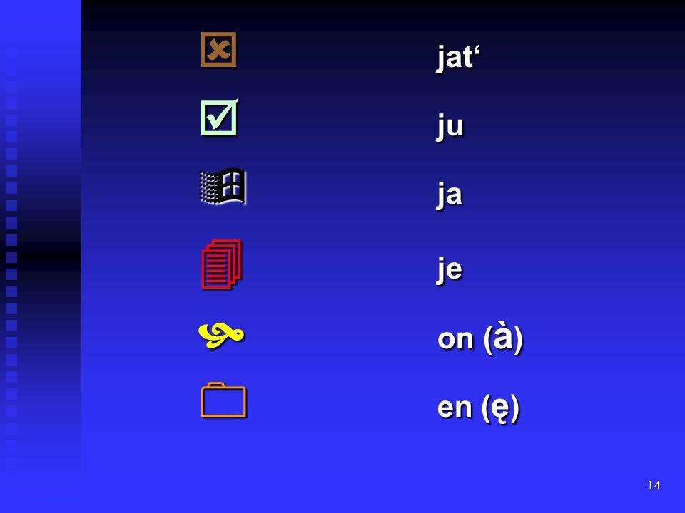 14 jat jat ju ju ja ja je je on ( à ) on ( à ) en ( ę ) en ( ę )