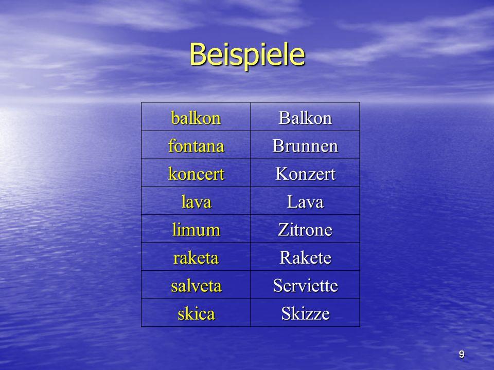 9 Beispiele balkonBalkon fontanaBrunnen koncertKonzert lavaLava limumZitrone raketaRakete salvetaServiette skicaSkizze