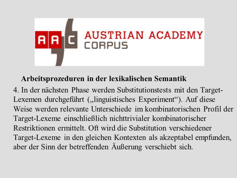 Arbeitsprozeduren in der lexikalischen Semantik 4.