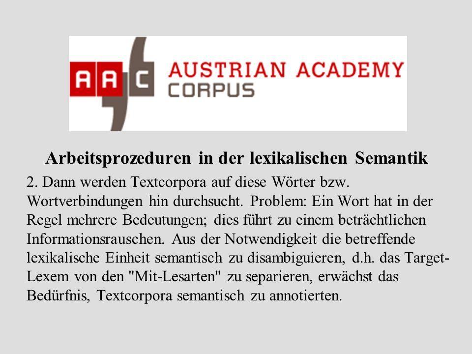 Arbeitsprozeduren in der lexikalischen Semantik 3.