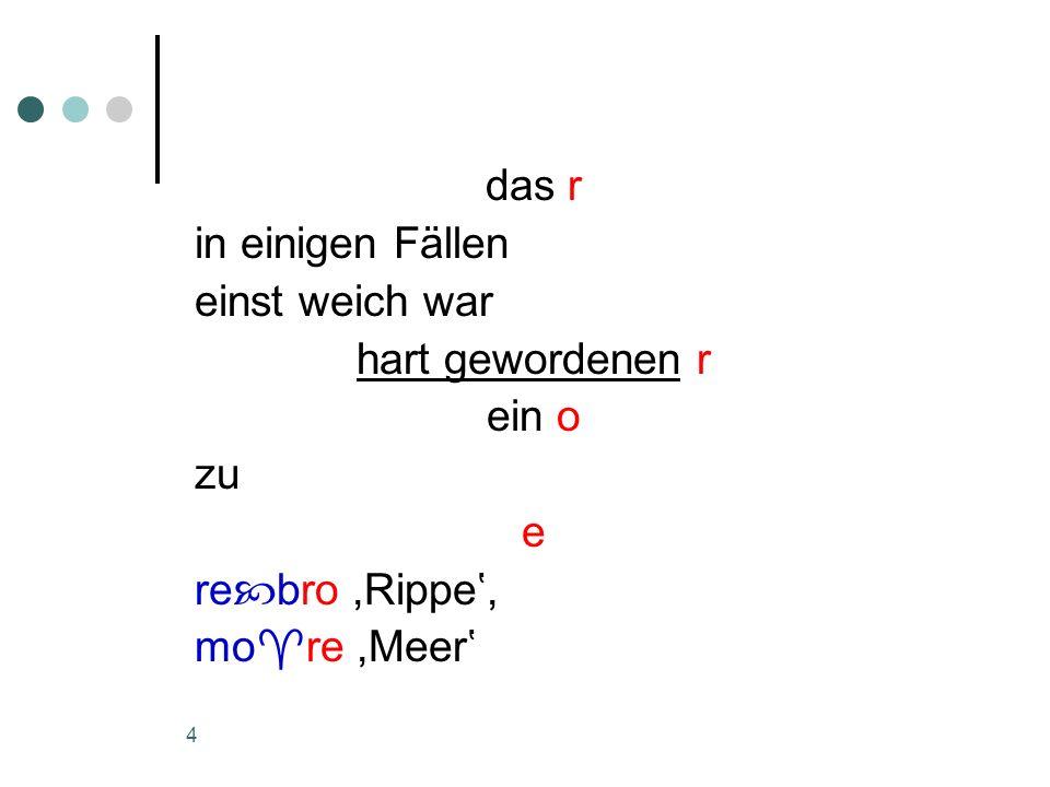 5 In den nicht seltenen Fällen, ein o hinter einem weichen Konsonanten befindet in älterer Zeit an Stelle des o überall ein e.