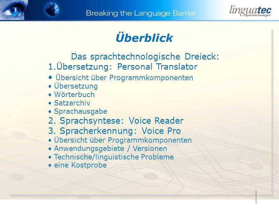 Das sprachtechnologische Dreieck: 1.Übersetzung: Personal Translator Übersicht über Programmkomponenten Übersetzung Wörterbuch Satzarchiv Sprachausgabe 2.