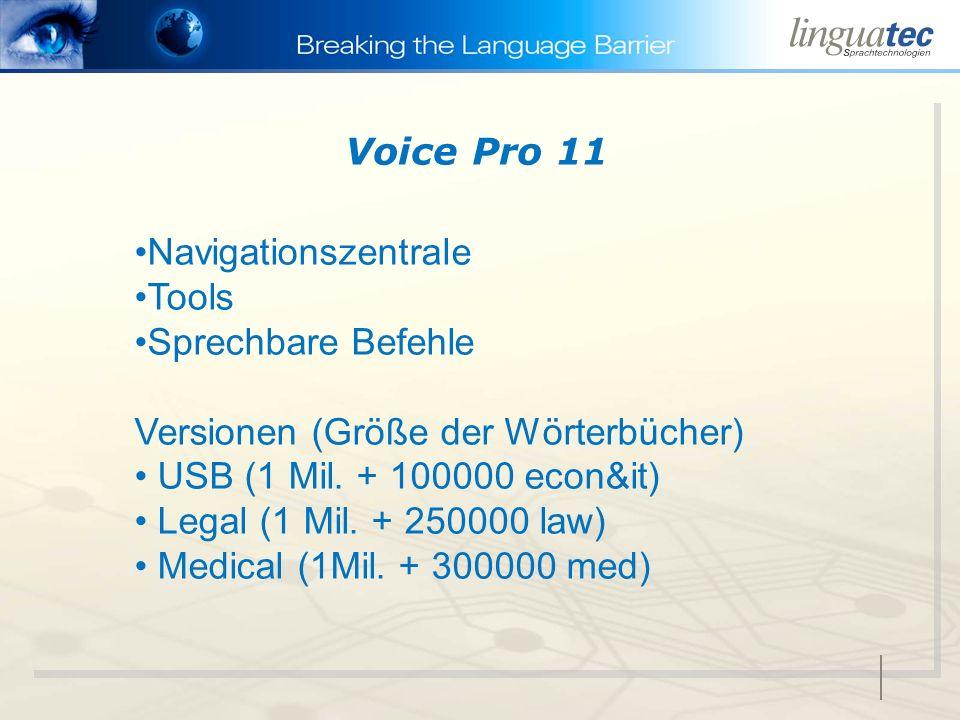 Navigationszentrale Tools Sprechbare Befehle Versionen (Größe der Wörterbücher) USB (1 Mil. + 100000 econ&it) Legal (1 Mil. + 250000 law) Medical (1Mi