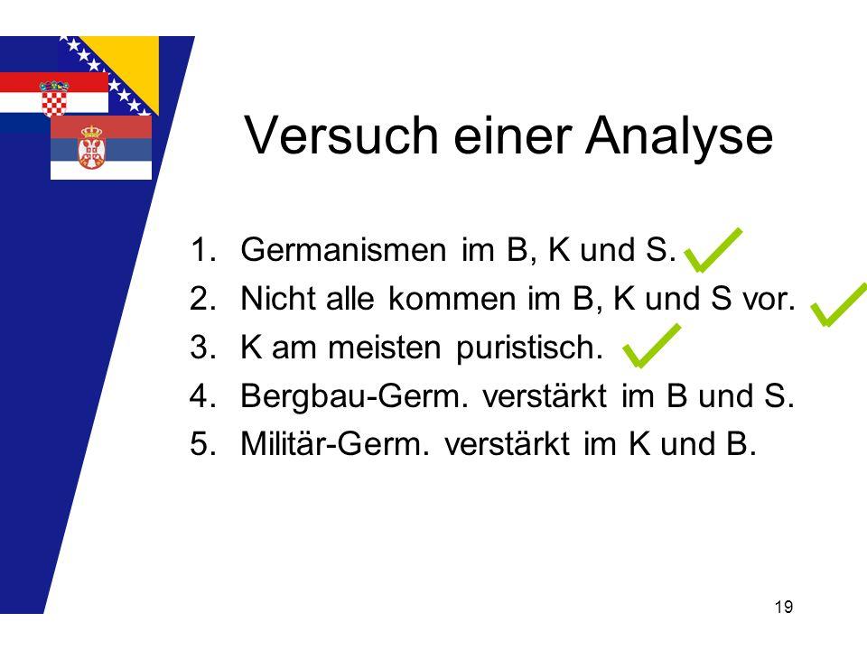 19 Versuch einer Analyse 1.Germanismen im B, K und S. 2.Nicht alle kommen im B, K und S vor. 3.K am meisten puristisch. 4.Bergbau-Germ. verstärkt im B