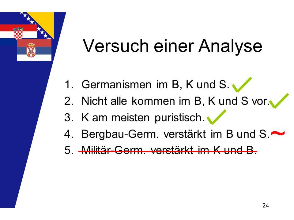 24 Versuch einer Analyse 1.Germanismen im B, K und S. 2.Nicht alle kommen im B, K und S vor. 3.K am meisten puristisch. 4.Bergbau-Germ. verstärkt im B