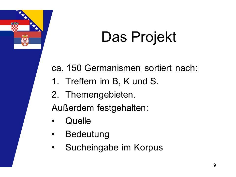 9 Das Projekt ca. 150 Germanismen sortiert nach: 1.Treffern im B, K und S. 2.Themengebieten. Außerdem festgehalten: Quelle Bedeutung Sucheingabe im Ko