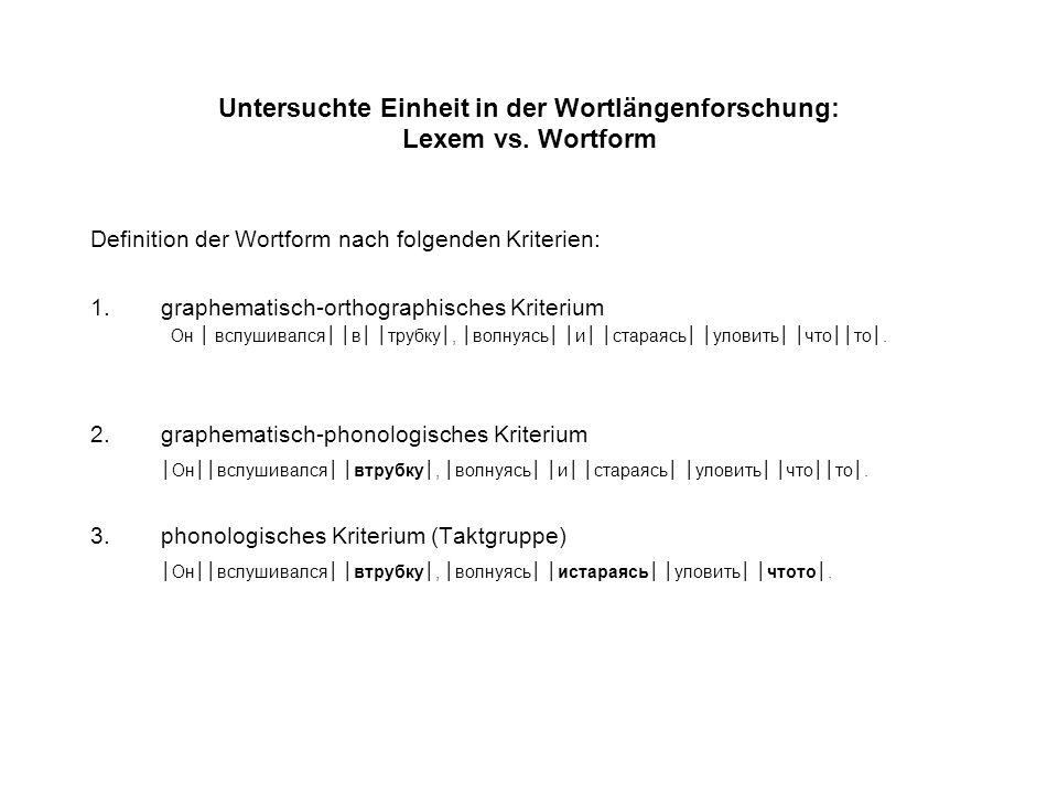 Untersuchte Einheit in der Wortlängenforschung: Lexem vs.